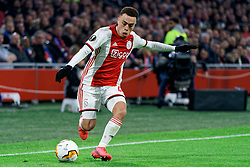 Sergino Dest #28 of Ajax in action during the Europa League match R32 second leg between Ajax and Getafe at Johan Cruyff Arena on February 27, 2020 in Amsterdam, Netherlands