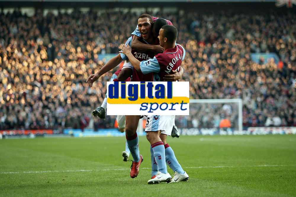 Photo: Rich Eaton.<br /> <br /> Aston Villa v West Ham. The Barclays Premiership. 03/02/2007. John Carew left of Aston Villa celebrates scoring on his debut to make the score 1-0