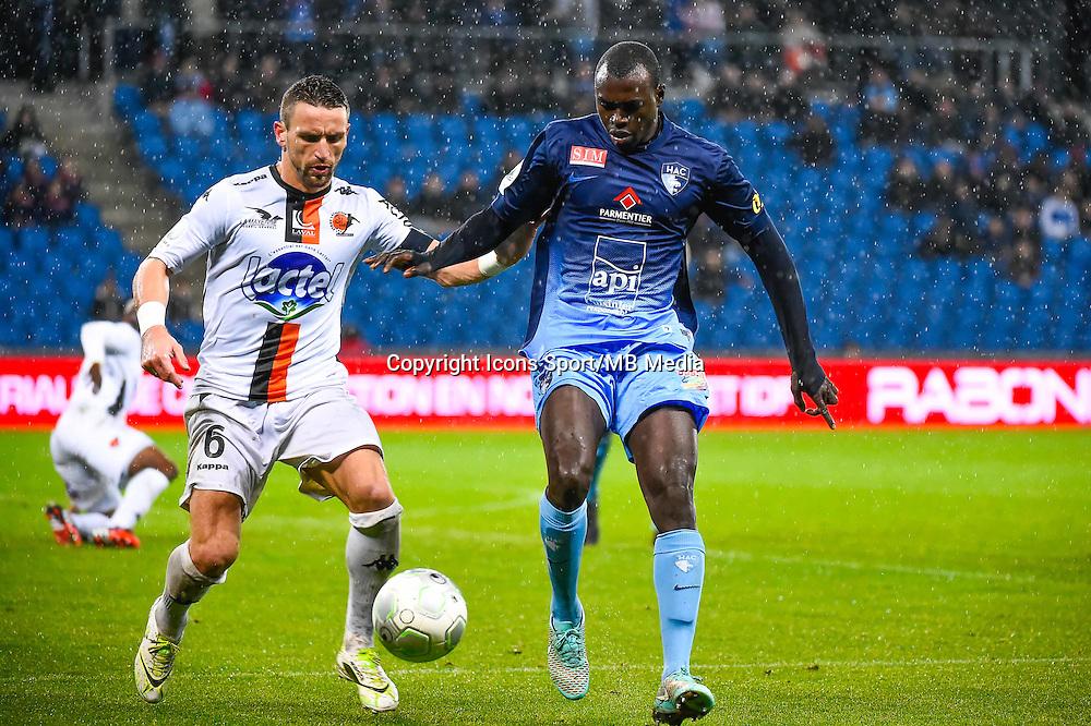 Anthony GONCALVES / Zargo TOURE  - 12.12.2014 - Le Havre / Laval - 17eme journee de Ligue 2 <br /> Photo : Fred Porcu / Icon Sport