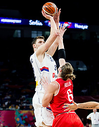 Ognjen Kuzmic of Serbia during basketball match between National Teams of Serbia and Hungary at Day 11 in Round of 16 of the FIBA EuroBasket 2017 at Sinan Erdem Dome in Istanbul, Turkey on September 10, 2017. Photo by Vid Ponikvar / Sportida