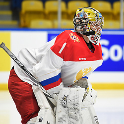 WHITBY, - Dec 15, 2015 -  WJAC Game 6- Team Russia vs Team Switzerland at the 2015 World Junior A Challenge at the Iroquois Park Recreation Complex, ON. Mikhail Berdin #1 of Team Russia during the second period.<br /> (Photo: Andy Corneau / OJHL Images)