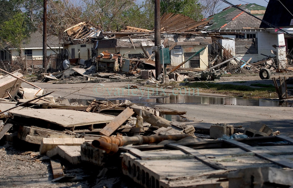 30 Sept, 2005.  New Orleans, Louisiana. Lower 9th ward. Hurricane Katrina aftermath. <br /> The remnants of the lives of ordinary folks, now covered in mud as the flood waters remain. The devastation of an entire community where houses were simply washed from their bases.<br /> Photo; ©Charlie Varley/varleypix.com