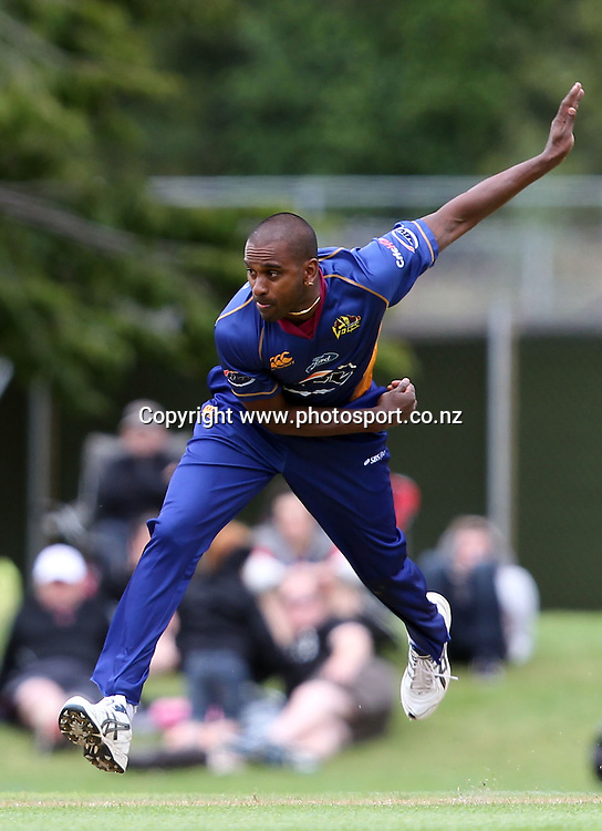 Dimitri Mascarenhas in action for the Volts.<br /> Twenty20 Cricket - HRV Cup, Otago Volts v Auckland Aces, 15 January 2012, University Oval, Dunedin, New Zealand.<br /> Photo: Rob Jefferies / photosport.co.nz