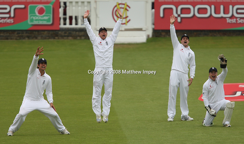 Slip fielders (l-r) Alastair Cook, Paul Collingwood, Andrew Strauss and wicketkeeper Tim Ambrose appeal for a wicket. England v New Zealand, Day 2, 1st Npower Test, Lord's Cricket Ground, St.Johns Wood, London. 16 May 2008. Photo: Matthew Impey/PHOTOSPORT