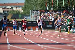 VAN DER MERWE Fanie, VDOVIN Andrey, JONES Rhys, MONTEROLA Omar, WHITEHEAD Ahkeel, BOUKHELIFA Alexandre, RSA, RUS, GBR, VEN, USA, FRA, 100m, T37, 2013 IPC Athletics World Championships, Lyon, France