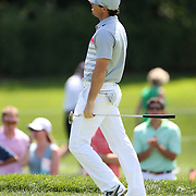 Rory McIlroy reacts to a missed puu on the third hole during the fourth round of theThe Barclays Golf Tournament at The Ridgewood Country Club, Paramus, New Jersey, USA. 24th August 2014. Photo Tim Clayton