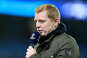 Neil Lennon during the Champions League round of 16 match between Manchester City and Dynamo Kiev at the Etihad Stadium, Manchester, England on 15 March 2016. Photo by Simon Brady.