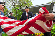 Merrick, NY, USA. Sept. 11, 2011. Merrick American Legion 1282 9/11 event dedicating monument with steel from site of World Trade Center, at Merrick Veterans Memorial Park.