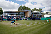 Marcel Granollers of Spain plays a forehand during the Men's Singles Quarter Final at the Fuzion 100 Ilkley Lawn Tennis Trophy Tournament held at Ilkley Lawn Tennis and Squad Club, Ilkley, United Kingdom on 19 June 2019