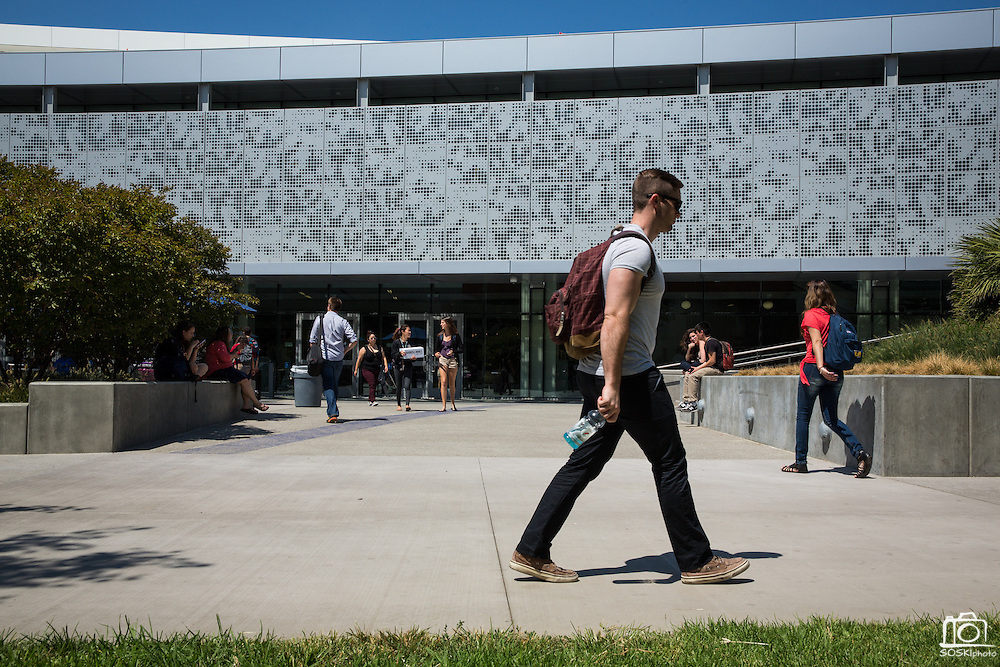 Students walk outside the new Student Union West Wing during the first day of classes at San Jose State University in San Jose, California, on August 25, 2014. (Stan Olszewski/SOSKIphoto)