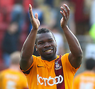 Aaron McLean of Bradford City applauds fans after the Sky Bet League 1 match at the Matchroom Stadium, London<br /> Picture by David Horn/Focus Images Ltd +44 7545 970036<br /> 29/03/2014