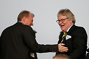 Derby County Manager Steve McClaren and comedian Jim Davidson during the EFL Sky Bet Championship match between Burton Albion and Nottingham Forest at the Pirelli Stadium, Burton upon Trent, England on 11 March 2017. Photo by Richard Holmes.