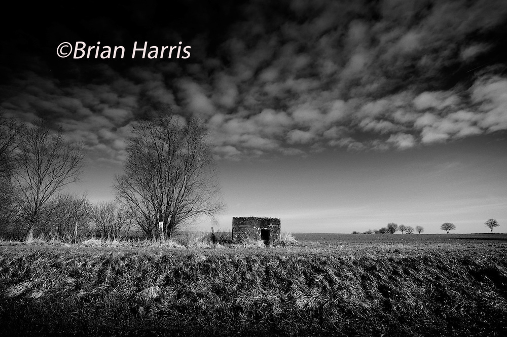 Somme WW1 Battlefield, July 1st-November 1916, France. German pillbox on Albert-Bapaume Road. February 2014