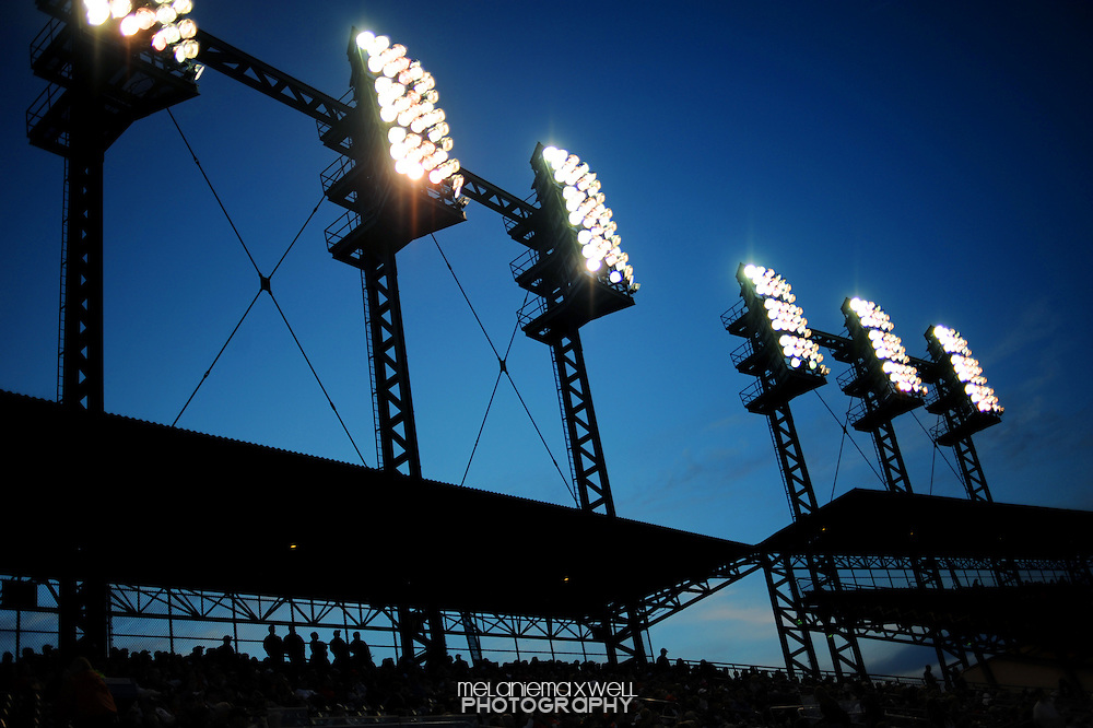 The field lights shine from the upper deck on Comerica Park home to the Detroit Tigers in Detroit, Michigan. Melanie Maxwell