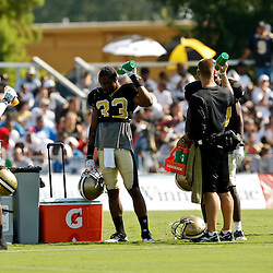 July 31, 2010; Metairie, LA, USA; New Orleans Saints cornerback Jabari Greer (33) and teammates cool off during a training camp practice at the New Orleans Saints practice facility. Mandatory Credit: Derick E. Hingle