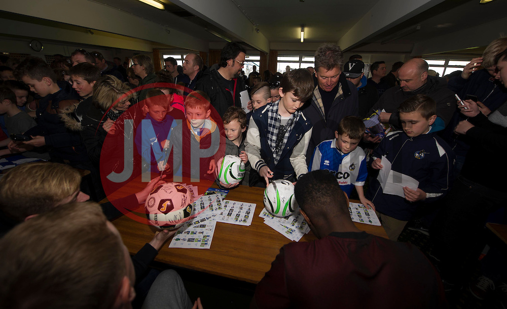 Bristol Rovers players Sign autographs.  - Photo mandatory by-line: Alex James/JMP - Mobile: 07966 386802 - 31/03/2015 - SPORT - Football - Bristol - Memorial Stadium - Vanarama Football Conference - Bristol Rovers Open Training Session