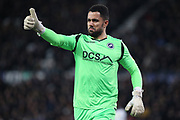 Millwall goalkeeper Jordan Archer gestures during the EFL Sky Bet Championship match between Derby County and Millwall at the Pride Park, Derby, England on 20 February 2019.
