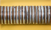 A voltaic pile battery.  This type of battery was the first chemical battery and was invented by Alessandro Volta in 1791.  This battery consists of two different metals.  Here copper United States pennies manufactured before 1982 were used and the source of Zinc was zinc coated washers.  Cotton paper is placed between the coins and wetted with an acid.  In this experiment the acid used was 5% acetic acid from household vinegar. The vinegar is the electrolyte<br />Unlike the Leyden jar, the voltaic pile produces a continuous electricity and stable current. The order of the stack is copper, zinc and then paper.  This pattern is repeated throughout the battery.