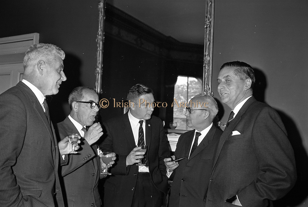 11/09/1962<br /> 09/11/1962<br /> 11 September 1962<br /> Ford International Fellowship Award for Ireland. In the Constitution Room of the Shelbourne Hotel, Dublin, 26 year old Sligo born Mr Patrick Joseph McGowan, M.Econ.Sc., of the Economic Division of the Central Bank of Ireland, who was leaving for the United States on the 13th as the Ford International Fellow for Ireland for 1962, was wished success in his studies by The U.S. Ambassador and members of An Bord Seolaireachtai Comalairte. Picture shows: (l-r) Dr Mairtin S. O Tnuthail, President of U.C.G.; Mr T.J. Brennan, Managing Director, Henry Ford and Son Ltd. Cork; Mr McGowan; Mr J. Bietz, U.S. Consul, Cork and Mr J.H.V. Mahony, Public Relations Officer, Henry Ford and Son Ltd. Cork.