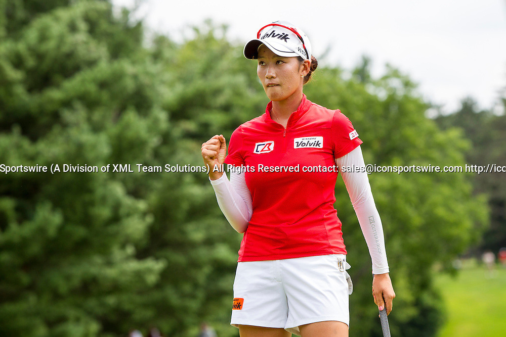 19 July 2015:  Chella Choi, of South Korea, reacts to sinking her par put on the 18th green during regulation play during the final round of the LPGA Marathon Classic presented by Owens Corning and O-I at Highland Meadows Golf Club in Sylvania, Ohio.
