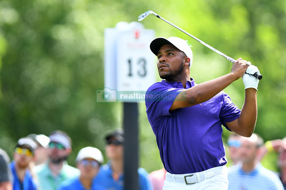 May 3, 2019 - Charlotte, NC, U.S. - CHARLOTTE, NC - MAY 03:  Harold Varner III watches as his ball finds the bunker on 13 in round two of the Wells Fargo Championship on May 03, 2019 at Quail Hollow Club in Charlotte,NC. (Photo by Dannie Walls/Icon Sportswire) (Credit Image: © Dannie Walls/Icon SMI via ZUMA Press)