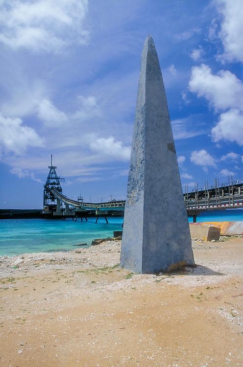 stone obelisk on beach in Bonnaire