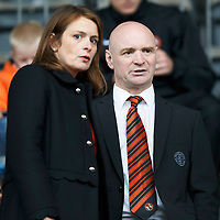 St Johnstone v Dundee United...26.09.15  SPFL   McDiarmid Park, Perth<br /> Dundee United Chairman Stephen Thompson pictured talking his sister and United co-owner Justine Mitchell<br /> Picture by Graeme Hart.<br /> Copyright Perthshire Picture Agency<br /> Tel: 01738 623350  Mobile: 07990 594431