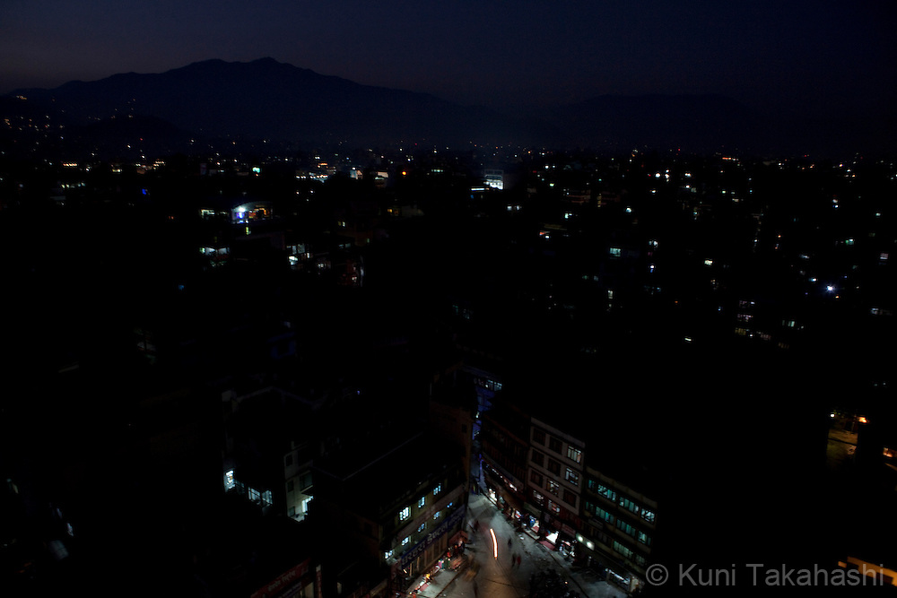 (Jan 5, 2012 - Kathmandu, Nepal).Only limited electric power is suplied during power outage in Kathmandu, Nepal, on Jan 5, 2012. For the last several years, nearly 800,000 people of the capital city faced up to 16 hours of blackouts every day, mainly caused by political instability. Nepal is said to be second only to Brazil in terms of water resources but the government has been incapable of harnessing hydropower..(Photo by Kuni Takahashi)