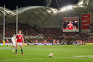 Owen Farrell (Lions) kicks for a conversion during the tour match of the 2013 British And Irish Lions Australian Tour between RaboDirect Melbourne Rebels vs British And Irish Lions at AAMI Park, Melbourne, Victoria, Australia. 25/06/0213. Photo By Lucas Wroe