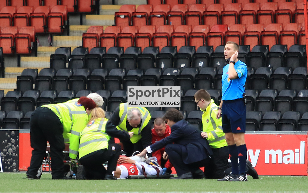 Concern grows for Airdrieonians Taylor Morgan during the Airdrieonians FC V Ayr United FC Scottish League One 19th September 2015 ©Edward Linton | SportPix.org.uk