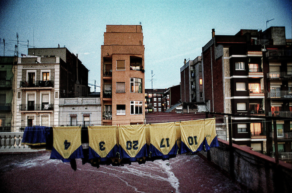 Barcelona, Catalunya,Spain.<br /> Some football shirts lying on a roof.&copy;Carmen Secanella.