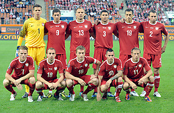 (L-R, upper row) goalkeeper Wojciech Szczesny, Pawel Brozek, Arkadiusz Glowacki, Grzegorz Wojtkowiak, Tomasz Jodlowiec, Jakub Wawrzyniak and (L-R, down row) Eugen Polanski, Adrian Mierzejewski, Jakub Blaszczykowski, Ludovic Obraniac, Rafal Murawski (all Poland) pose to team photo before friendly soccer match between Poland and Georgia in Lubin, Poland...Poland, Lubin , August 10, 2011..( Photo © MEDIASPORT )
