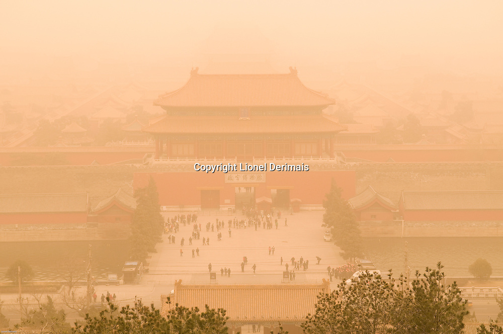 Forbidden City shrouded in dust during a dust storm.