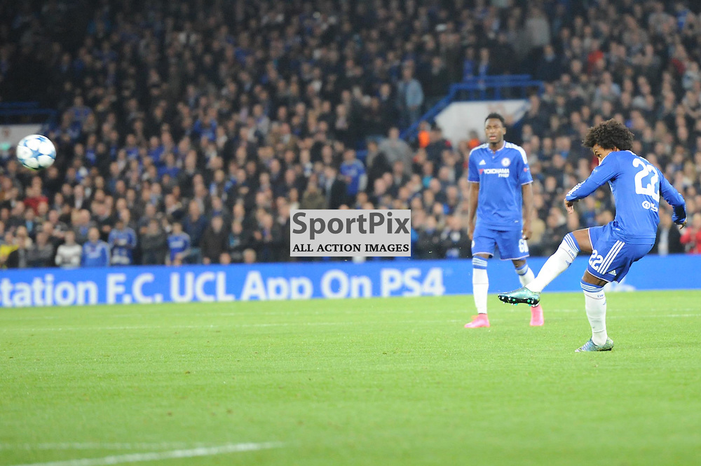 Chelseas Willian takes a free kick during the Chelsea v Dynamo Kiev champions league match in the group stage on the 4th November 2015