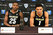 Colorado's McKinley Wright IV (left) and Tyler Bey (right) during Pac-12 Basketball Media Day, Tuesday, Oct. 8, 2019, in San Francisco, Calif. (Dylan Stewart/Image of Sport)