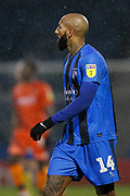 Gillingham midfielder Josh Parker (14), Sky Bet logo on sleeve, during the EFL Sky Bet League 1 match between Gillingham and Wycombe Wanderers at the MEMS Priestfield Stadium, Gillingham, England on 15 December 2018.