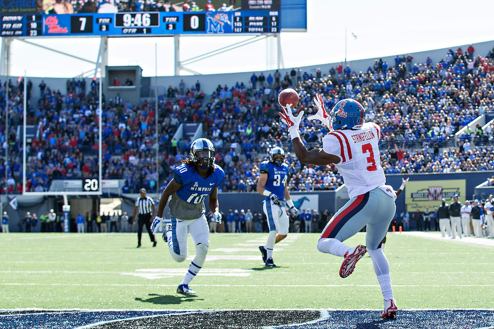MEMPHIS, TN - OCTOBER 17:  Damore'ea Stringfellow #3 of the Ole Miss Rebels catches a pass in the end zone for a touchdown against the Memphis Tigers at Liberty Bowl Memorial Stadium on October 17, 2015 in Memphis, Tennessee.  The Tigers defeated the Rebels 37-24.  (Photo by Wesley Hitt/Getty Images) *** Local Caption *** Damore'ea Stringfellow