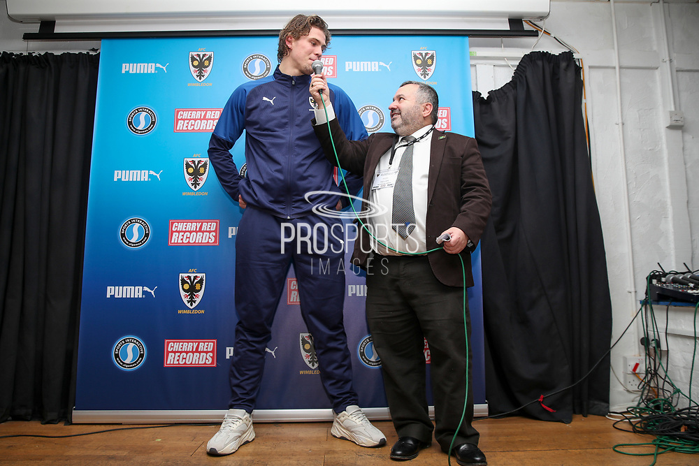 AFC Wimbledon defender Mads Bech Sorensen (26) talking to Ivor Heller during the EFL Sky Bet League 1 match between AFC Wimbledon and Peterborough United at the Cherry Red Records Stadium, Kingston, England on 18 January 2020.