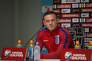 England Midfielder Wayne Rooney during the England Press Conference at Stadion Stozce , Ljubljana, Slovenia on 10 October 2016. Photo by Phil Duncan.