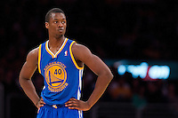 09 November 2012: Forward (40) Harrison Barnes of the Golden State Warriors against the Los Angeles Lakers during the first half of the Lakers 101-77 victory over the Warriors at the STAPLES Center in Los Angeles, CA.