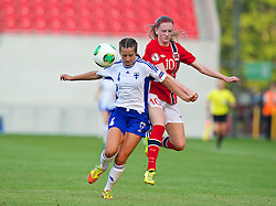 LLANELLI, WALES - Thursday, August 22, 2013: Norway's Andrea Thun in action against Finland's Katarina Naumanen during the Group B match of the UEFA Women's Under-19 Championship Wales 2013 tournament at Parc y Scarlets. (Pic by David Rawcliffe/Propaganda)