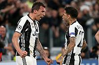 can - 09.05.2017 - Torino - Champions League Semifinale  -  Juventus-Monaco nella  foto: Mario Mandzukic e Dani Alves  esultano dopo il gol