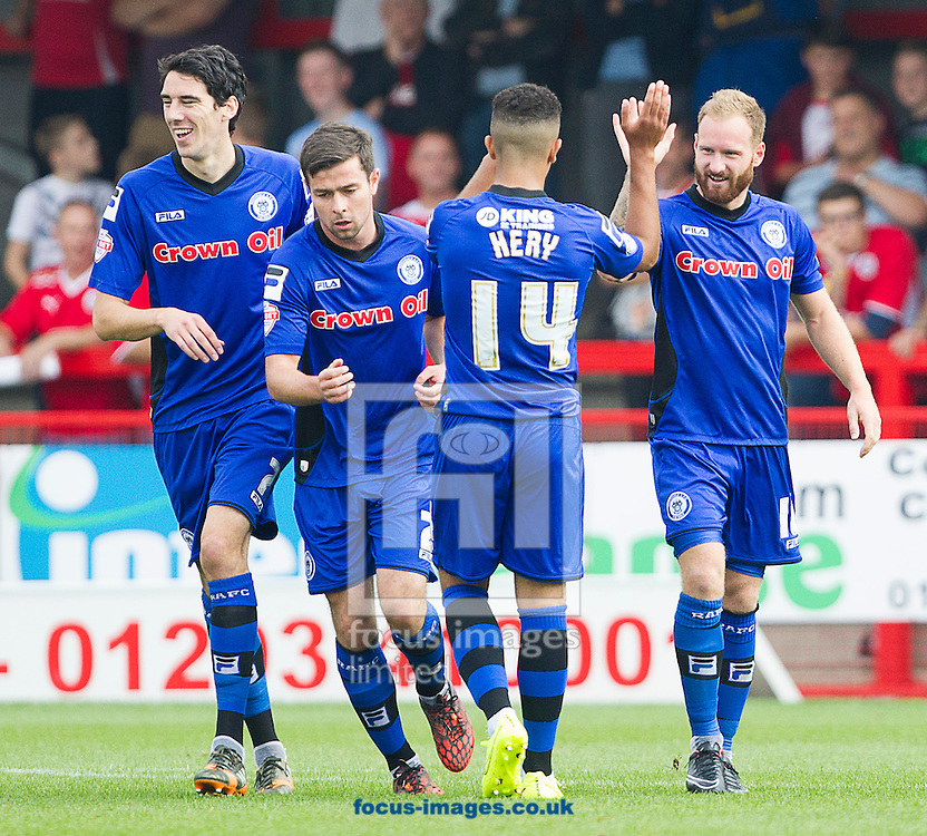 Matthew Done ( R ) of Rochdale celebrates after scoring the opening goal during the Sky Bet League 1 match at Broadfield Stadium, Crawley<br /> Picture by Paul Terry/Focus Images Ltd +44 7545 642257<br /> 06/09/2014
