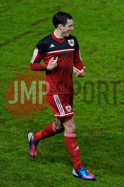 Bristol City Defender Greg Cunningham (IRL) looks bemused as he celebrates scoring a freak goal during the first half of the match - Photo mandatory by-line: Rogan Thomson/JMP - Tel: Mobile: 07966 386802 29/01/2013 - SPORT - FOOTBALL - Ashton Gate - Bristol. Bristol City v Watford - npower Championship.