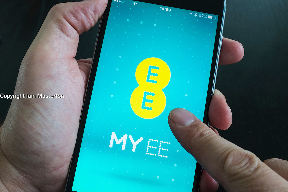 EE mobile phone app on an iPhone 6 Plus smart phone