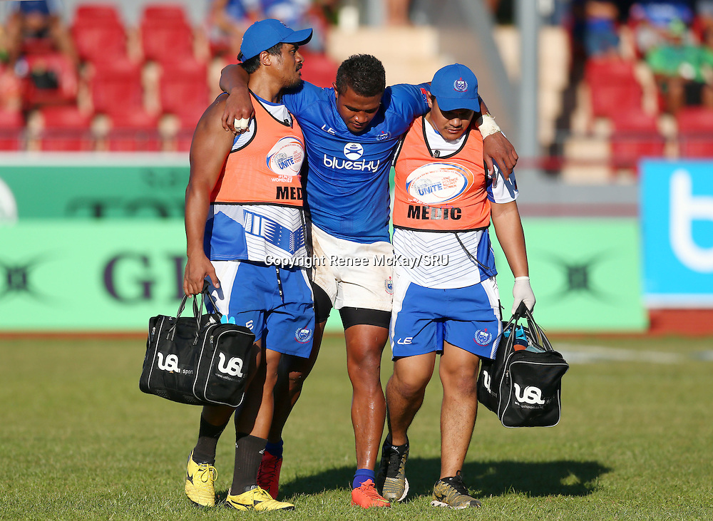 Faatoina Autagavaia leaves the field injured during the Pacific Nations Cup match between Manu Samoa and Tonga at Apia Park, Saturday 25 June 2016. Photo: Renee McKay/SRU