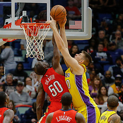 Feb 14, 2018; New Orleans, LA, USA; New Orleans Pelicans center Emeka Okafor (50)  blocks a shot by Los Angeles Lakers center Ivica Zubac (40) during the second half at the Smoothie King Center. The Pelicans defeated the Lakers 139-117. Mandatory Credit: Derick E. Hingle-USA TODAY Sports