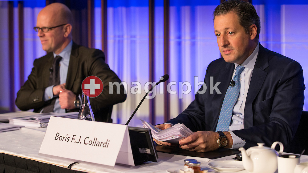 Boris F.J. Collardi (R), Chief Executive Officer (CEO), and Dieter A. Enkelmann, Chief Financial Officer (CFO), look on during a press conference on the fourth quarter and full-year results 2014 of Julius Baer Group Ltd. held at the Hotel Widder in Zuerich, Switzerland, on Monday, 2 February 2015. (Photo by Patrick B. Kraemer / MAGICPBK)