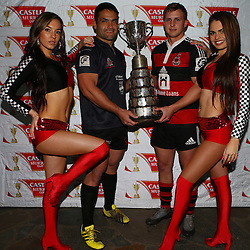 DURBAN, SOUTH AFRICA, 8th August, 2016 - The Castle Murray Cup Dancers with Kevin Buck of Amanzimtoti Rugby Club and  Andrew Holland of SA Home Loans Durban Collegians during the press conference prior to the Final of the Castle Murray Cup knockout rugby match between  Amanzimtoti Rugby Club and SA Home Loans Durban Collegians at the Crusaders rugby club Durban North,Durban, South Africa. (Photo by Steve Haag)<br /> <br /> images for social media must have consent from Steve Haag