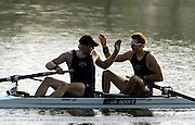 2005 GB Rowing Senior Trails, Hazenwinkel, BELGIUM; Tuesday 12.04.2005, Andy Hodge [left] and Peter Reed, celebrate, after winning the men's pair final, on the second day of the GB Senior Trails..Photo  Peter Spurrier. .email images@intersport-images... GB Senior Rowing Trails, Rowing Course, Bloso, Hazewinkel. BELGUIM